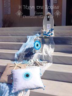 Bαπτιση με θεμα ματακι ψαρι Η βάπτιση του Διονύση Λουκά με θέμα ματάκι με μια νότα ελληνική,αέρινη,θαλασσινή. Μάτι σε συνδιασμό το ψ... Pillow Crafts, Event Decor, Wedding Decorations, Baby Shower, Evil Eye, Children, Babies, Decorating, Party