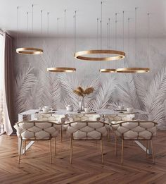of the day: White + Gold dining room. Love the mesmerizing lighting and color s… of the day: White + Gold dining room. Love the mesmerizing lighting and color scheme! Decor, House Design, Home Interior Design, Gold Dining Room, Dining Room Contemporary, Contemporary Dining Room, Interior Design, Luxury Dining Room, Gold Dining