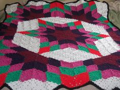 images of free crocheted quilt patterns | Prairie Star Crochet Quilt: free pattern | Crochet - Blankets, Afghan ...