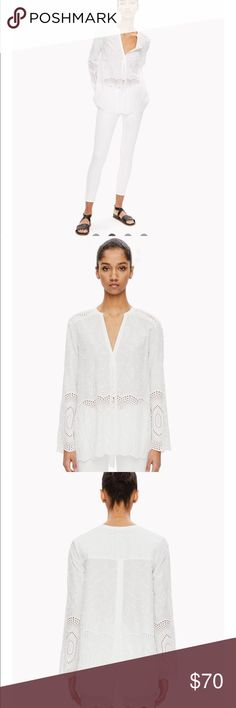 Theory Pleated Tunic With Eyelets Size M Worn Once. Perfect condition. V-neck eyelet tunic with a front pleat and overlapping back opening. Finished with a scalloped hem. Made of crisp stretch cotton. A relaxed essential for warm-weather dressing.   Product Name: OFELIAH E  Style #: H0404529 Theory Tops