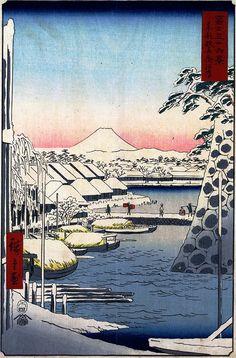 Hiroshige - Thirty-six Views of Mount Fuji 1856 Series 3 Sukiyagashi in the Eastern Capital東京都中央区 Chūō-ku, Tōkyō-to