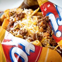 ah yea, frito pie in a bag recipe +. this will make a fine #tailgate addition #tailgatefood
