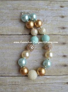 Minty Aqua Cream and Gold Bubblegum by LauraLeeDesigns108 on Etsy