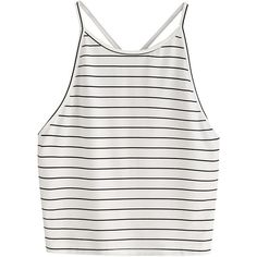 SweatyRocks Women's Striped Sleeveless Tank Crop Tops Halter Vest... ($8.89) ❤ liked on Polyvore featuring tops, white top, white crop top, stripe top, sleeveless tops and striped halter top