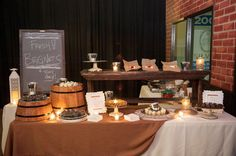 Epic Events made to order Beignets Station for a rustic wedding at the Sweetwater Brewing Company. #wedding, #dessert, #Buffet, #station, #beignets, #rustic, #decor