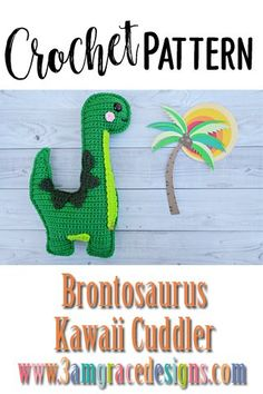 Our Brontosaurus Dinosaur crochet pattern & tutorial makes an adorable pillow for you or your favorite dino lover! How To Crochet A Brontosaurus Dinosaur Amigurumi Pillow With Rosy Kawaii Cheeks! Our Brontosaurus Dinosaur Crochet Pattern Works Up Quickly! Kawaii Crochet, Cute Crochet, Crochet For Kids, Crochet Crafts, Crochet Projects, Crochet Dinosaur Patterns, Crochet Patterns Amigurumi, Crochet Dolls, Crochet Yarn