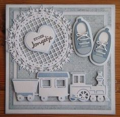 handmade baby card ... gray blue and white ... adorable train and baby shoes .. all die cuts ... square formate ... delightful!!