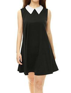 309feb09b95 Allegra K Women Contrast Color Peter Pan Collar Sleeveless Swing Dress  Black XL Contrast Color Doll Collar