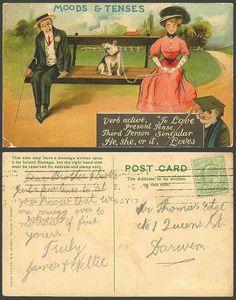 Bulldog Bull Dog 1913 Old Postcard Moods & Tenses, Verb Active TO LOVE, Singular. Pinned by Judi Crowe.
