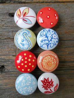 Set of Three Floral Knobs - Wooden Boho Dresser Drawer Knob - Hand ...