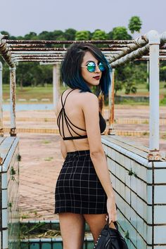 ZAFUL, Look, Moda, Lookbook, #hair #dyedhair #perfect #bluehair #alternative #alternativegirl #coloredhair #altgirl #tumblrgirl #tumblr #fashion #model #urban #urbano #fashionable #clothes #city #cidade #creeper #shoes #street #grafite #streetart #art #top #plaid #metallic #zafulstore #store