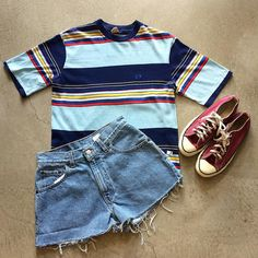 """Hang Ten Striped T-Shirt $28+$8(shipping) domestic. Size small (24""""x18""""). Levi's Cut Off Shorts W:28. $36+$8(shipping) domestic & Converse USA Sneakers size 7.5. $52+$16(shipping) domestic. Contact the shop at 415-796-2398 to purchase by phone or PayPal afterlifeboutique@gmail and reference item in post."""