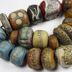 Lampwork Glass Beads Set SRA Matte Etched by StoneDesignsbySheila, $104.00