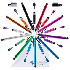 Bundle of 18 Colorful Stylus Universal capacitive Touch Screen Pen for Ipad 1 2 3 Ipod Iphone 4 Motorola Xoom Samsung Galaxy Tab Blackberry Playbook HTC Flyer Evo View Tablet Sony Playstation PS VITA - With The Friendly Swede Blackberry Playbook, Kawaii Accessories, Clean Microfiber, Ipad 1, Retail Packaging, Stylus, Iphone 4, Samsung Galaxy, Colorful