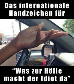 """Das internationale Handzeichen für """"Was zur Hölle macht der Idtiot da?!"""""""