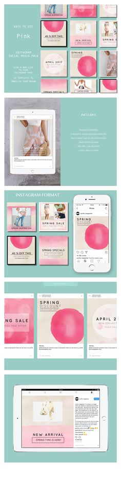 Spring Social, Pink Instagram, Business Profile, Social Media Template, Instagram Accounts, Social Media Marketing, Diy Design, Photoshop, Templates