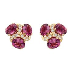 """Verdura Pink Tourmaline & Diamond """"Three Stone"""" Earclips 