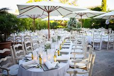 Classic white tables and shade from the Provence sun
