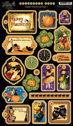 """Happy Haunting"" collection from Graphic 45.  Love these tags! I'm going to be making some vintage inspired layouts this Halloween!"
