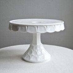 Vintage Milk Glass Cake Stand by Indiana, Constellation Pattern 1960s ... Barking Sands Vintage