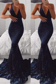 Prom Dresses Ball Gown, navy blue halter mermaid sequin ruffles evening gown dress, from the ever-popular high-low prom dresses, to fun and flirty short prom dresses and elegant long prom gowns. Navy Blue Prom Dresses, Cute Prom Dresses, Prom Outfits, Long Prom Gowns, Formal Dresses For Women, Mermaid Dresses, Ball Dresses, Evening Dresses, Long Tight Prom Dresses