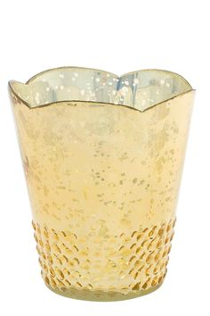 "Large gold Array votive. Use with candle and tealight.  Measures 4.5"" x 5.25"".  Array Votive Large by The Birch Tree Furniture. Home & Gifts - Home Decor - Decorative Objects Ohio"