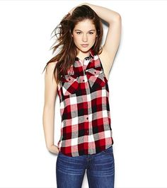 Boyfriend Sleeveless Plaid Shirt Plaid Shirt Outfits, Flannel Shirts, Girl Outfits, Casual Outfits, Casual Clothes, Country Girl Dresses, Festival Shorts, Latest Trends, My Style