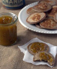 Chestnut flour & black Sesame blinis   Green tomato jam...   Yummy Breakfast !