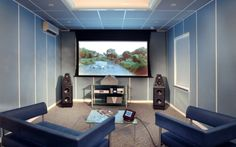 A Nice, Modern Home Theater Design For A Small Home. #hometheater #projector