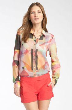 Theory 'Esmillina - Bandana' Geometric Print Shirt