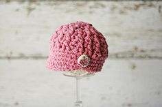Pink Newborn Girl's Hat with Button, Infant Photo Prop Hat, Baby Girl's Hat, Hats for Infants, READY TO SHIP on Etsy, $26.00