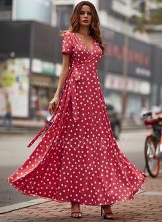 Elegant Summer Dresses, Nice Dresses, Short Dresses, Red Boho Dress, Red Polka Dot Dress, Polka Dots, Types Of Dresses, Hot Dress, Dress To Impress