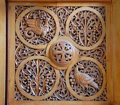 Jerusalem.                  Greek Orthodox Church of St. Stephen Protomartyr. Art of wood carving