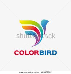 Abstract colored bird logo. - stock vector