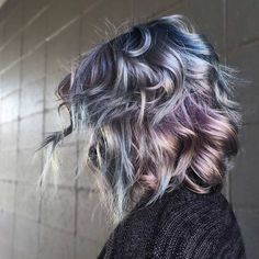 Blue and Purple Metallic Bob Hairstyle