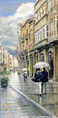 PAREJA POR LA CALLE (Palencia) - Antonio Varas de la Rosa - Óleo, tabla 44x22 cm.