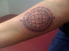 fuckyeahtattoos:    My second tattoo. A globe with Circa Survive lyrics.  via tonightletsdance