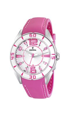 Festina Women's F16492/5 Pink Leather Quartz Watch with White Dial