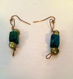 Green Marble Stone Earrings on Etsy, $10.00