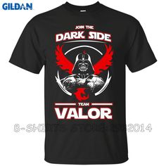 Gildan Business Shirts O-Neck Men Short Sleeve Compression Team Valor Join The Dark Side T Shirts #Affiliate