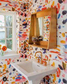 Cottage Home Interior Crazy Colorful Powder Room Amanda Louise Interiors Bathroom Interior, Home Interior, Interior Decorating, Decorating Ideas, Pierre Frey, Bathroom Colors, Colorful Bathroom, Colourful Bedroom, Funky Bathroom