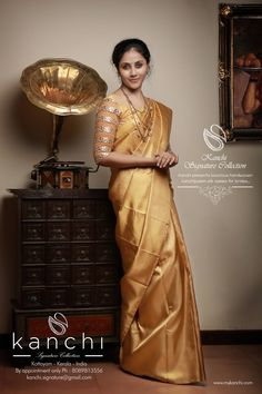 Golden kanchipuram saree for brides.. Kanchi signature collection saree .. https://www.facebook.com/Kanchi-Signature-Collection-353807514697160/timeline/