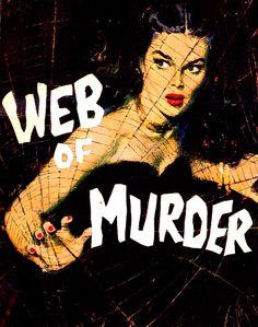 'Web of Murder' - pulp art by Harry Whittington, 1958.