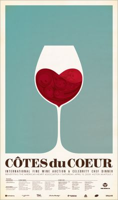 Wine Event Posters (Cotês du Coeur) #winelove ♡ (Wine glass Illustration) #cTeal #cRed
