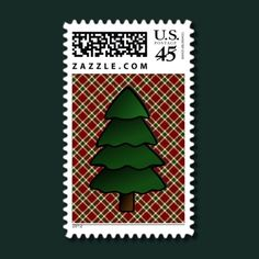 Christmas tree on burgundy plaid postage stamps
