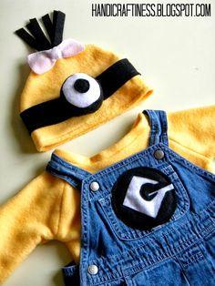 Handicraftiness: Easy Baby Minion Costume DIY #minioncostume