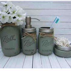 Hunter Green Mason Jar Bathroom Set (Set of 4) by burlappearlsandgirls on Etsy