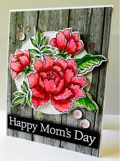 My Princess-Peaches Card Designs: Happy Mom's Day: Altenew Peony Bouquet #cardmaking #watercoloring
