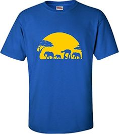 XLarge Royal Blue Adult Elephants And Imperial Walker Across African Safari TShirt *** Continue to the product at the image link.