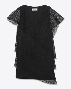 #saintlaurent, Mini-robe volantée en tulle de coton et polyester noir brodé d'étoiles